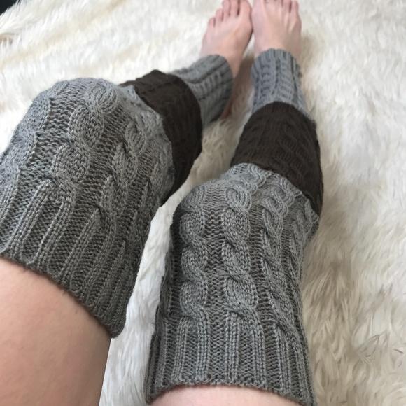 Cable Knit Socks-Brown Women Knit Long Patterned Leg Warmers Leg Sweaters Boot Socks